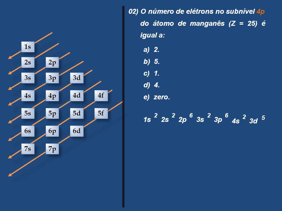 02) O número de elétrons no subnível 4p