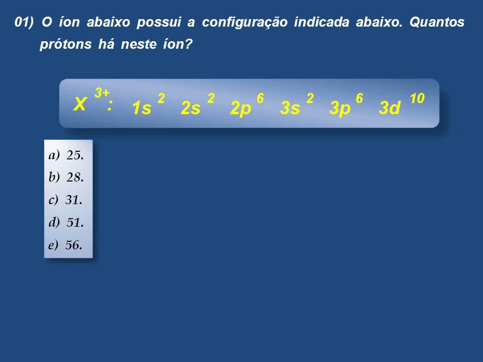 01) O íon abaixo possui a configuração indicada abaixo. Quantos