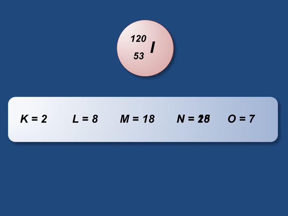 120 I 53 K = 2 L = 8 M = 18 N = 25 N = 18 O = 7