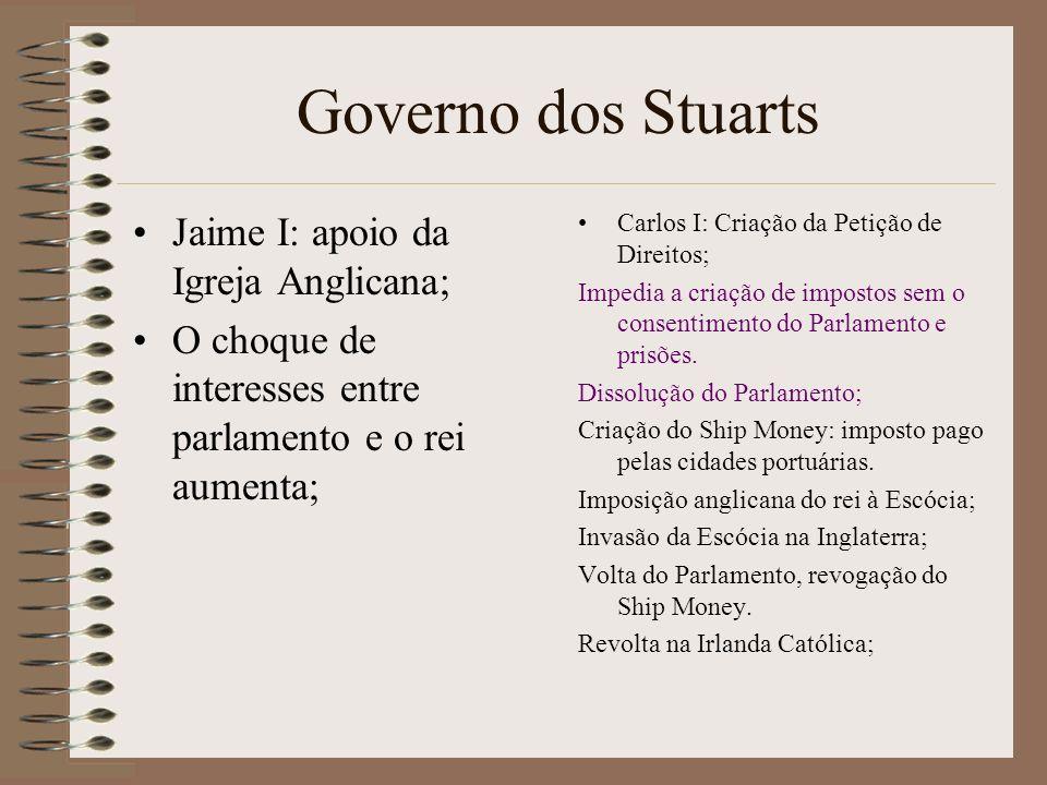 Governo dos Stuarts Jaime I: apoio da Igreja Anglicana;
