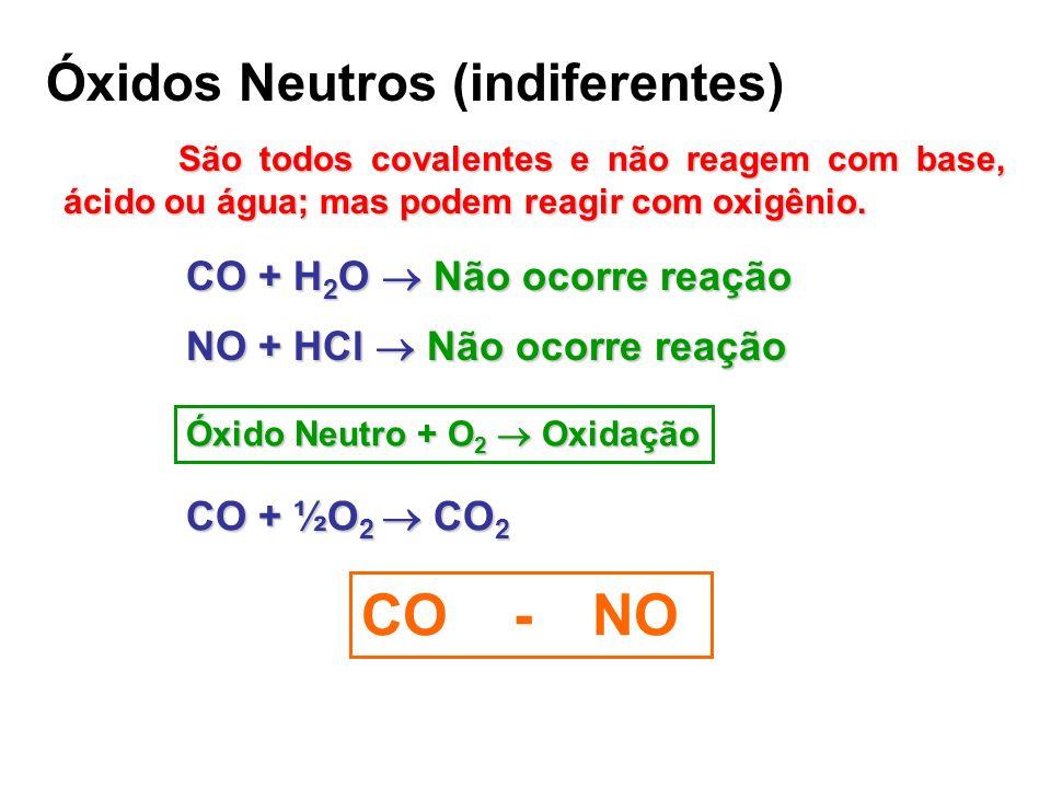 CO - NO Óxidos Neutros (indiferentes) CO + H2O  Não ocorre reação