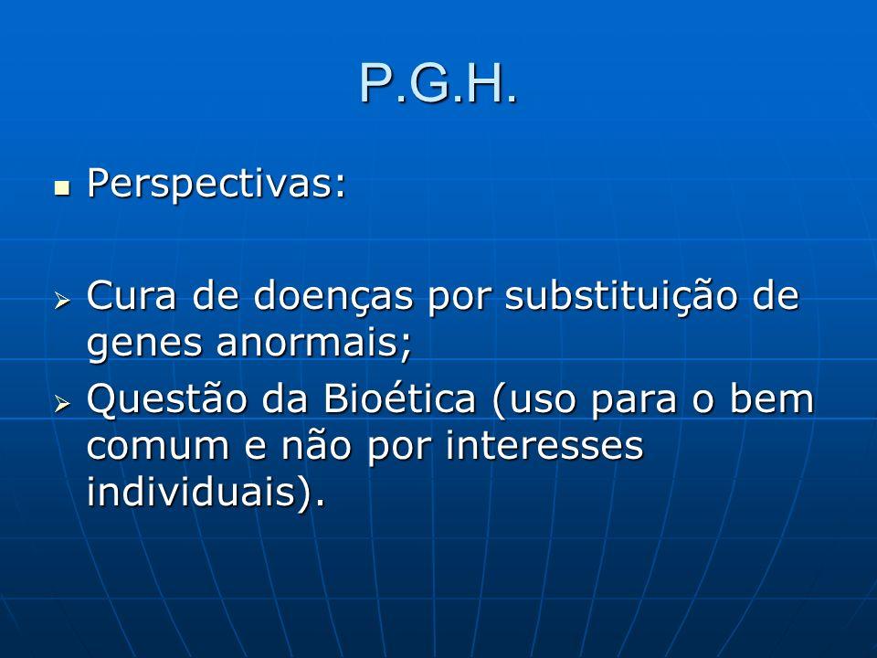 P.G.H. Perspectivas: Cura de doenças por substituição de genes anormais;