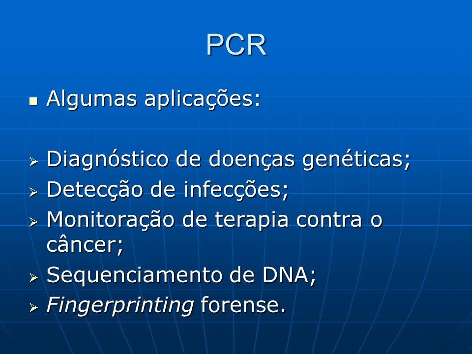 PCR Algumas aplicações: Diagnóstico de doenças genéticas;