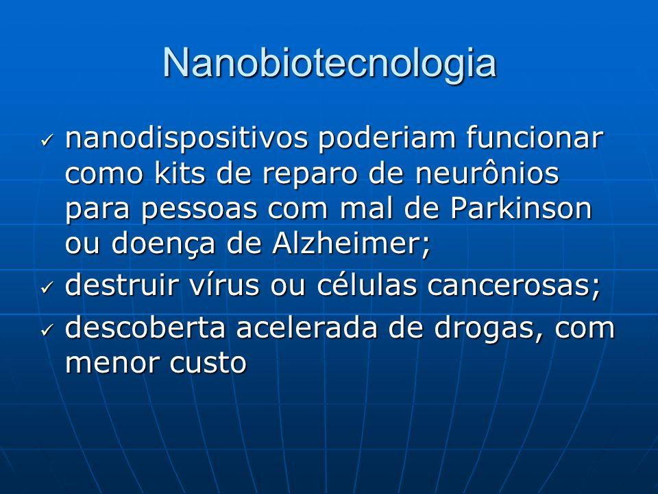 Nanobiotecnologia nanodispositivos poderiam funcionar como kits de reparo de neurônios para pessoas com mal de Parkinson ou doença de Alzheimer;