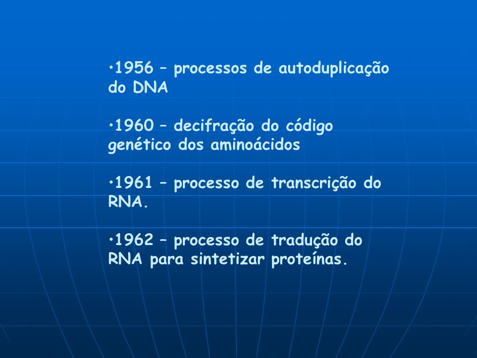 1956 – processos de autoduplicação do DNA