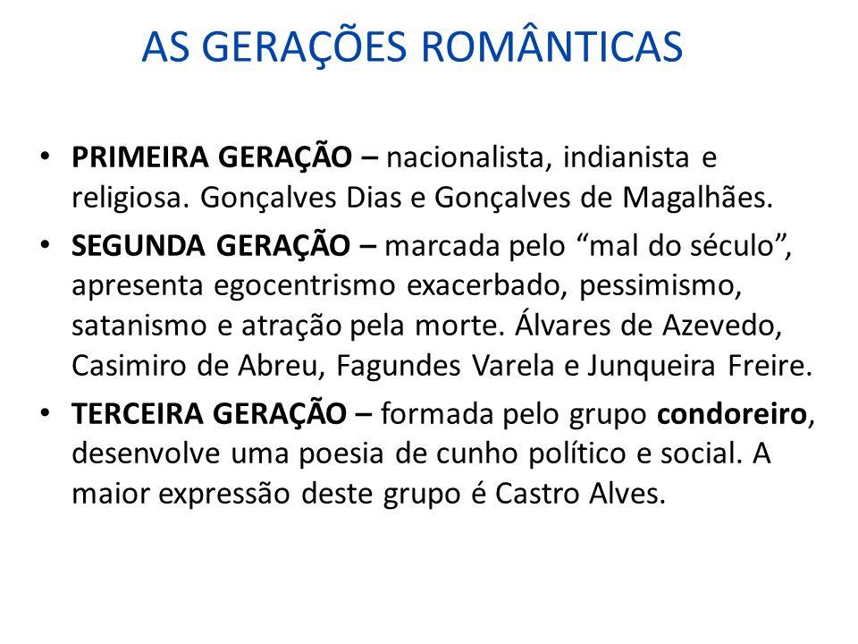 AS GERAÇÕES ROMÂNTICAS
