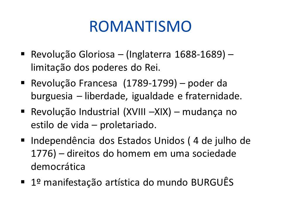 ROMANTISMO Revolução Gloriosa – (Inglaterra 1688-1689) – limitação dos poderes do Rei.