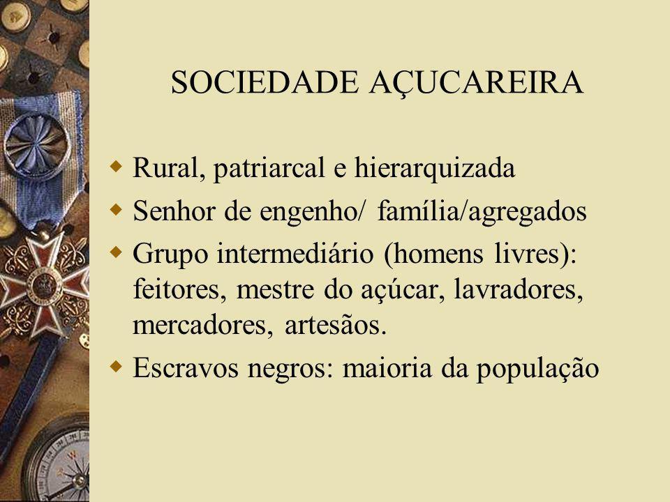 SOCIEDADE AÇUCAREIRA Rural, patriarcal e hierarquizada