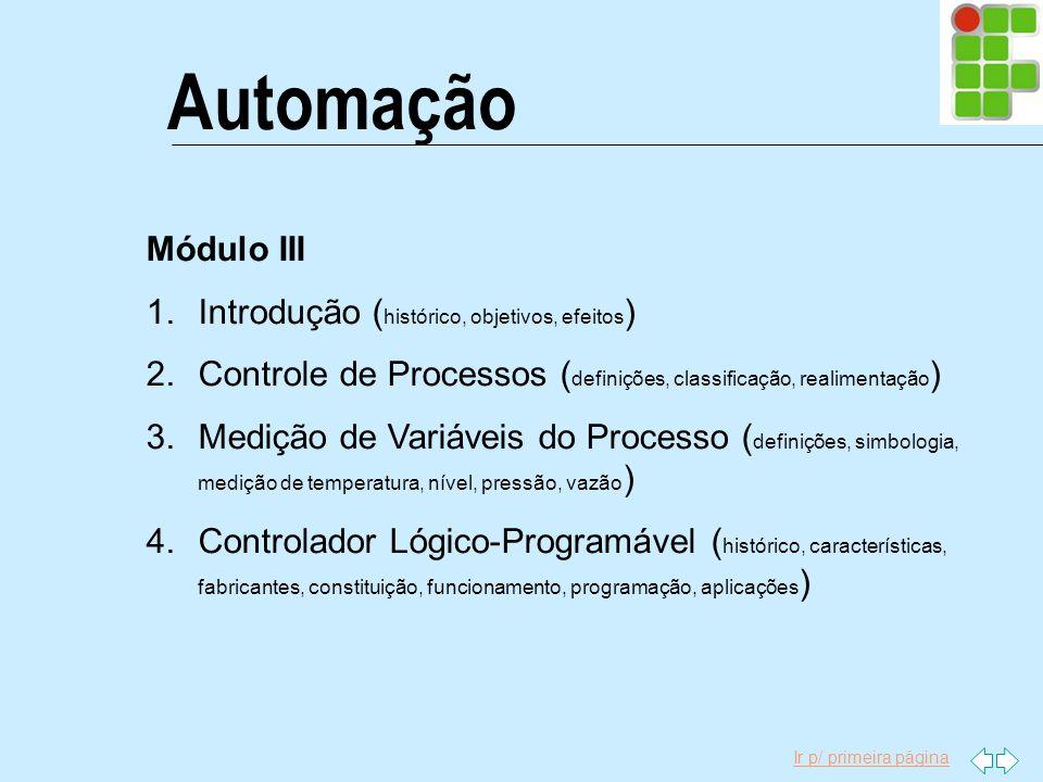 Automação Módulo III Introdução (histórico, objetivos, efeitos)