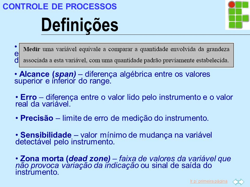 Definições CONTROLE DE PROCESSOS