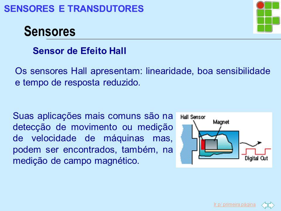 Sensores SENSORES E TRANSDUTORES Sensor de Efeito Hall