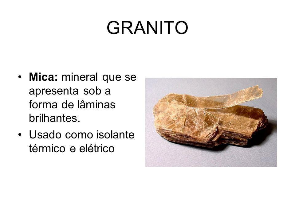 GRANITO Mica: mineral que se apresenta sob a forma de lâminas brilhantes.