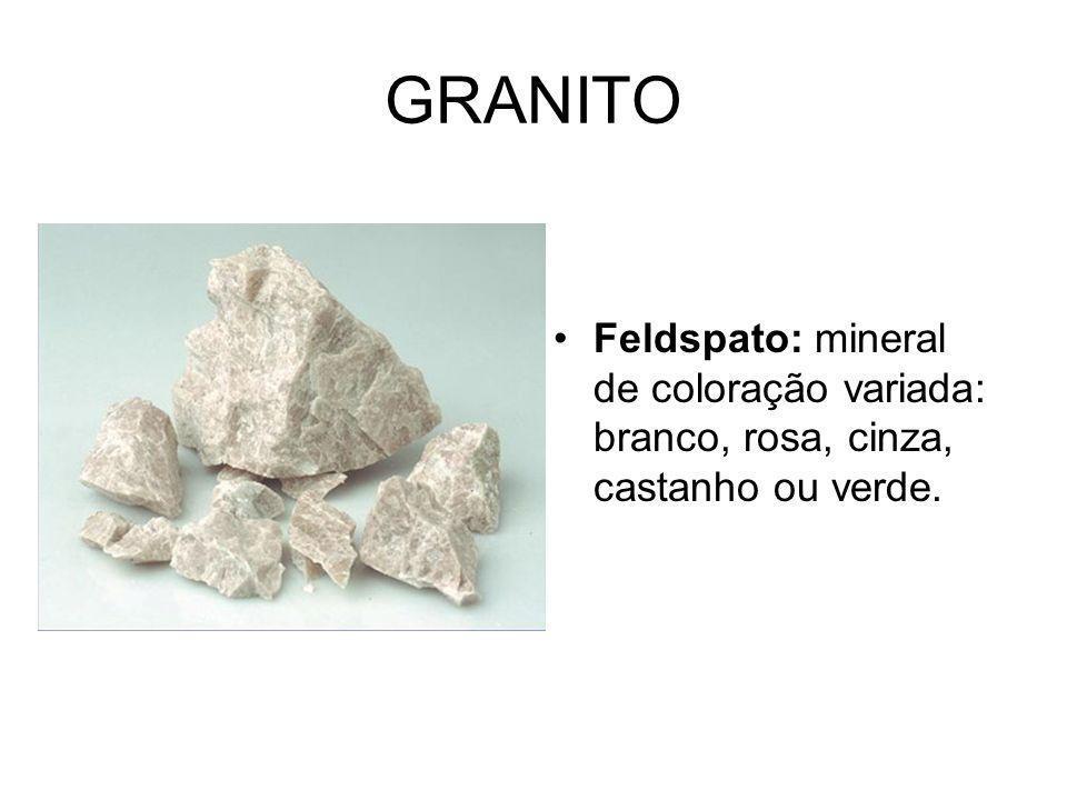 GRANITO Feldspato: mineral de coloração variada: branco, rosa, cinza, castanho ou verde.