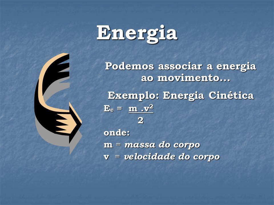 Podemos associar a energia ao movimento...