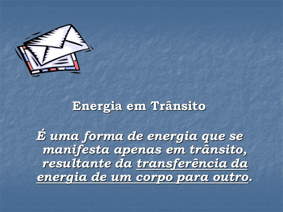 Energia em Trânsito É uma forma de energia que se manifesta apenas em trânsito, resultante da transferência da energia de um corpo para outro.