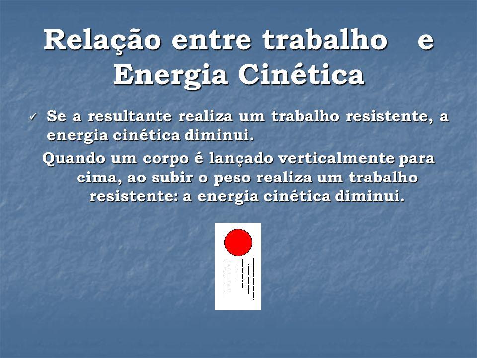 Relação entre trabalho e Energia Cinética