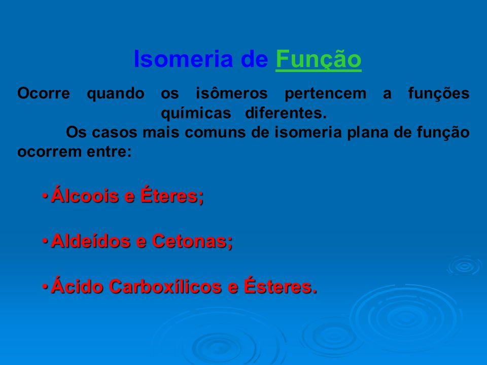 Isomeria de Função Álcoois e Éteres; Aldeídos e Cetonas;