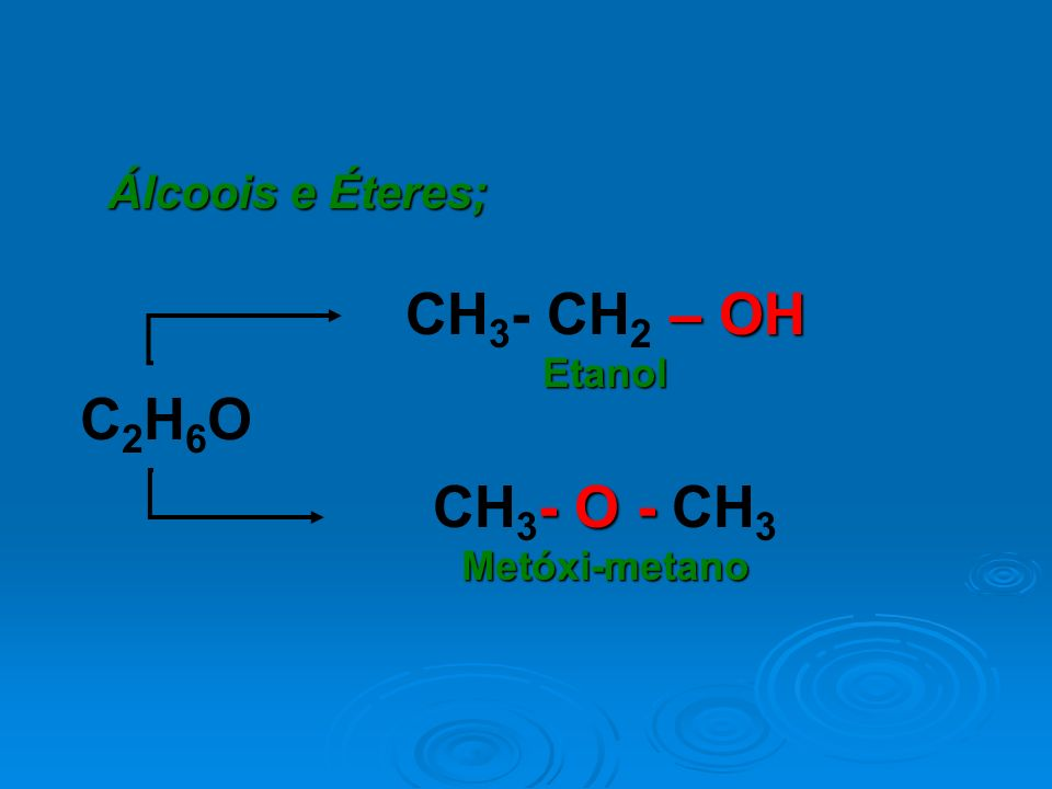 CH3- CH2 – OH C2H6O CH3- O - CH3 Álcoois e Éteres; Etanol
