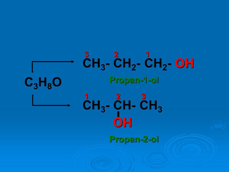 CH3- CH2- CH2- OH C3H8O CH3- CH- CH3 OH Propan-1-ol Propan-2-ol 3 2 1