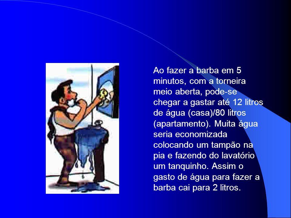 Ao fazer a barba em 5 minutos, com a torneira meio aberta, pode-se chegar a gastar até 12 litros de água (casa)/80 litros (apartamento).