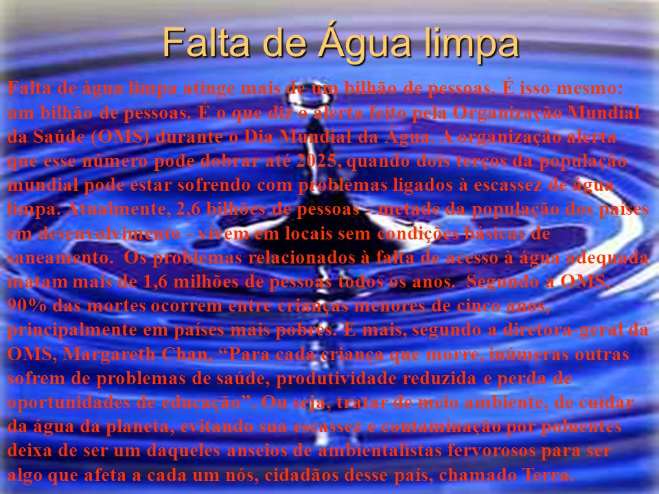Falta de Água limpa