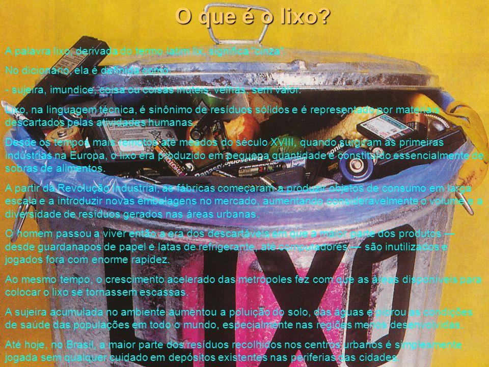 O que é o lixo A palavra lixo, derivada do termo latim lix, significa cinza . No dicionário, ela é definida como: