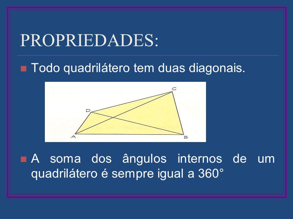 PROPRIEDADES: Todo quadrilátero tem duas diagonais.