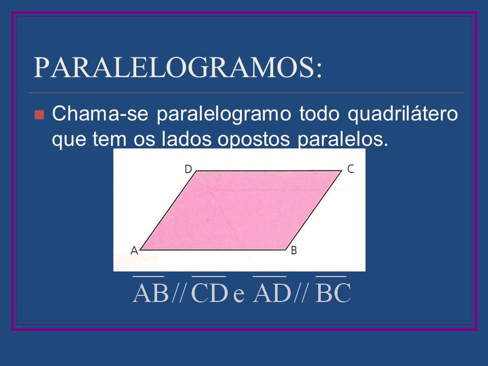 PARALELOGRAMOS: Chama-se paralelogramo todo quadrilátero que tem os lados opostos paralelos.