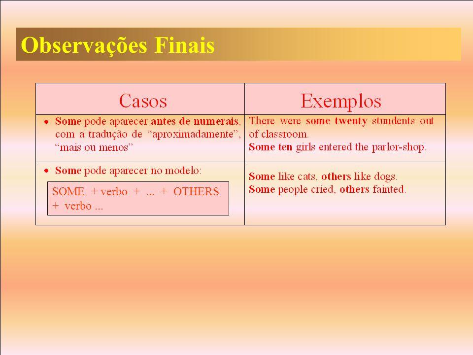 Observações Finais SOME + verbo + ... + OTHERS + verbo ...