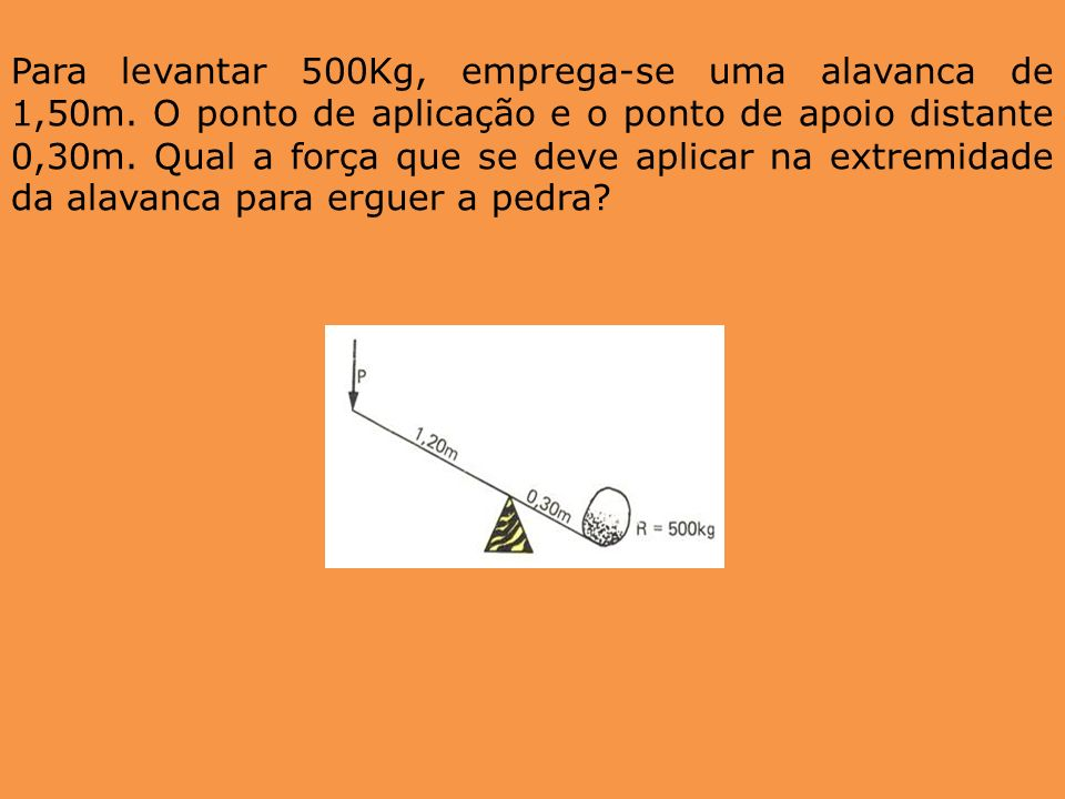 Para levantar 500Kg, emprega-se uma alavanca de 1,50m