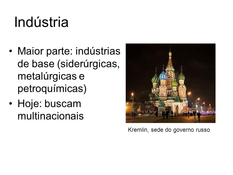 Indústria Maior parte: indústrias de base (siderúrgicas, metalúrgicas e petroquímicas) Hoje: buscam multinacionais.