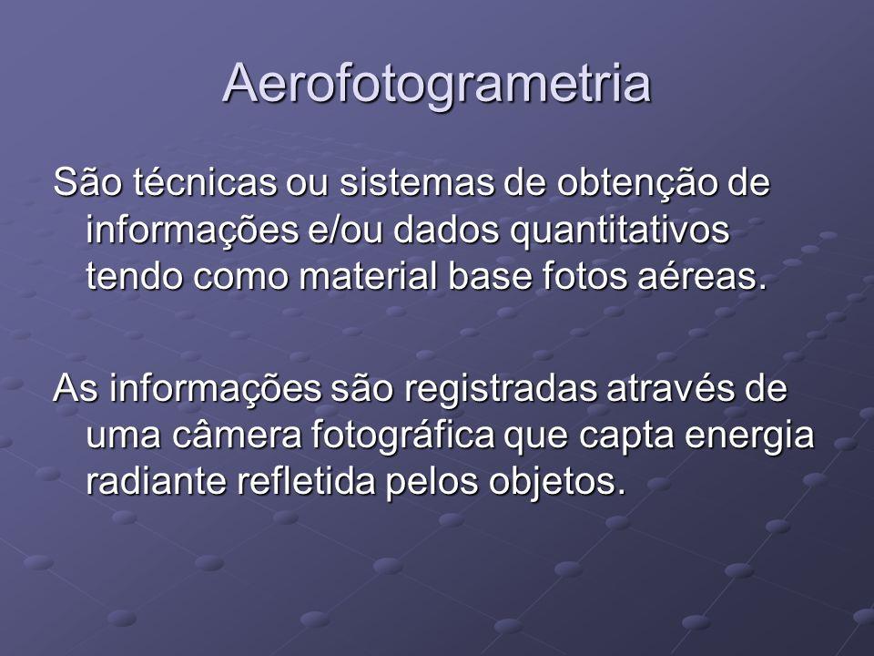 Aerofotogrametria São técnicas ou sistemas de obtenção de informações e/ou dados quantitativos tendo como material base fotos aéreas.