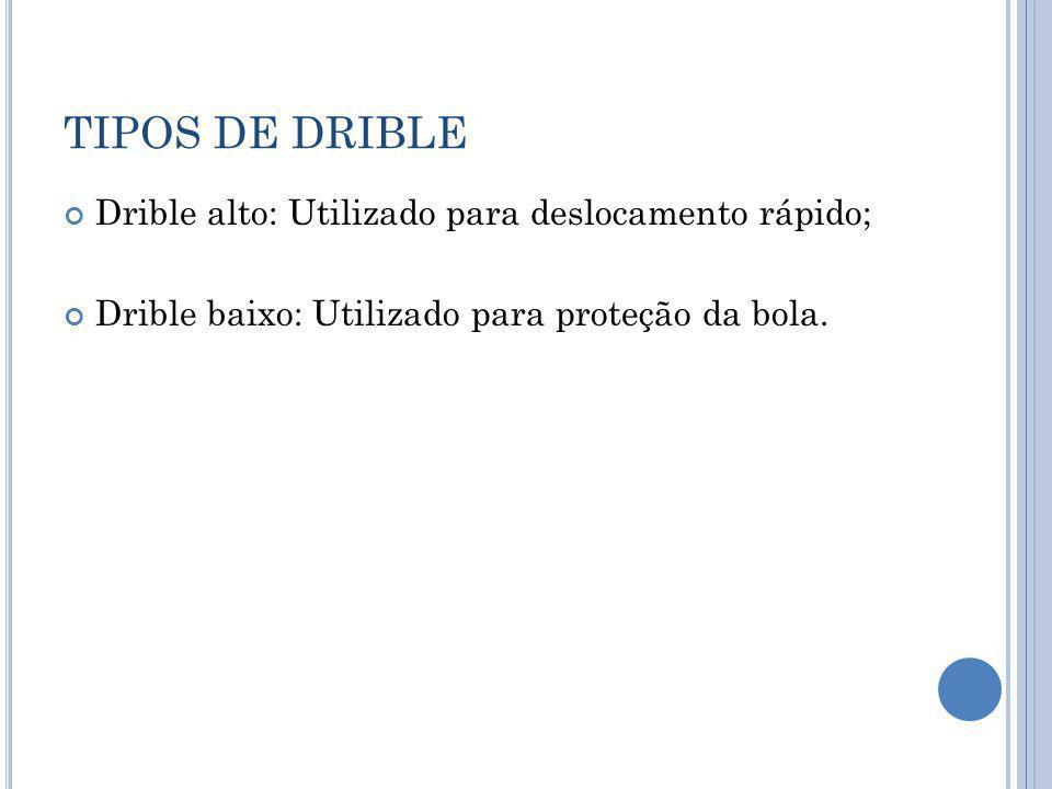TIPOS DE DRIBLE Drible alto: Utilizado para deslocamento rápido;
