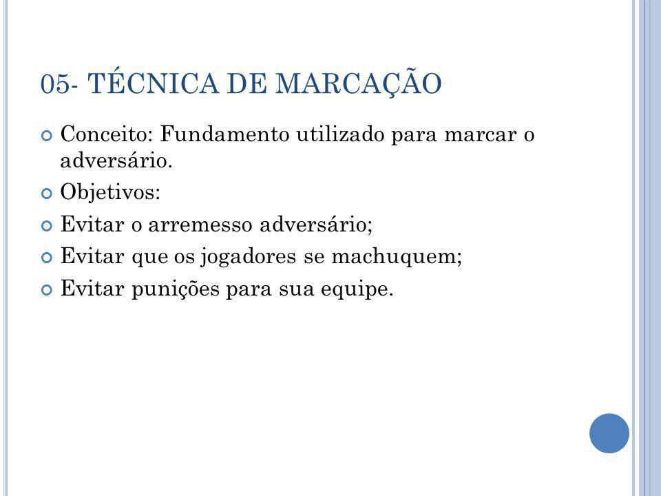 05- TÉCNICA DE MARCAÇÃO Conceito: Fundamento utilizado para marcar o adversário. Objetivos: Evitar o arremesso adversário;