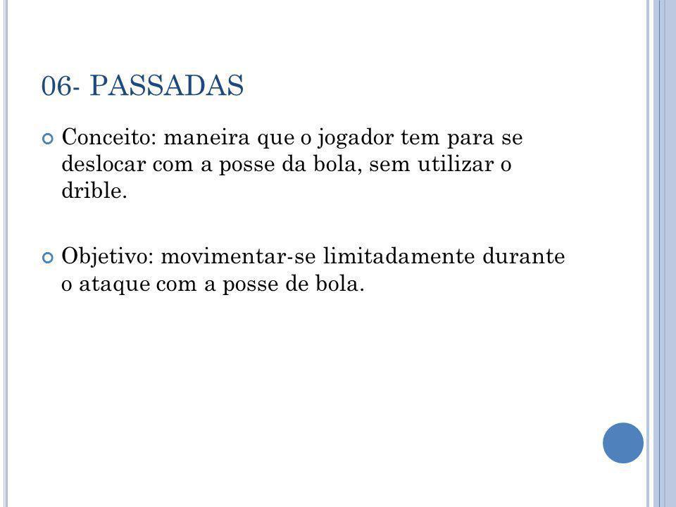 06- PASSADAS Conceito: maneira que o jogador tem para se deslocar com a posse da bola, sem utilizar o drible.