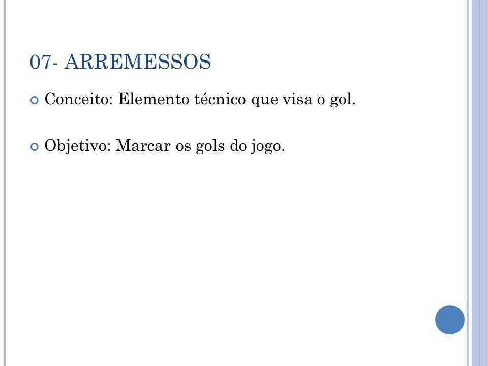 07- ARREMESSOS Conceito: Elemento técnico que visa o gol.