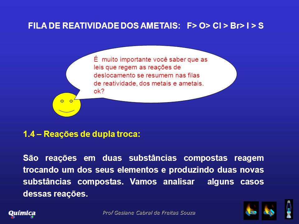 FILA DE REATIVIDADE DOS AMETAIS: F> O> Cl > Br> I > S