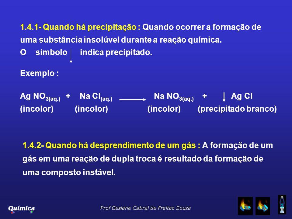 1.4.1- Quando há precipitação : Quando ocorrer a formação de uma substância insolúvel durante a reação química.