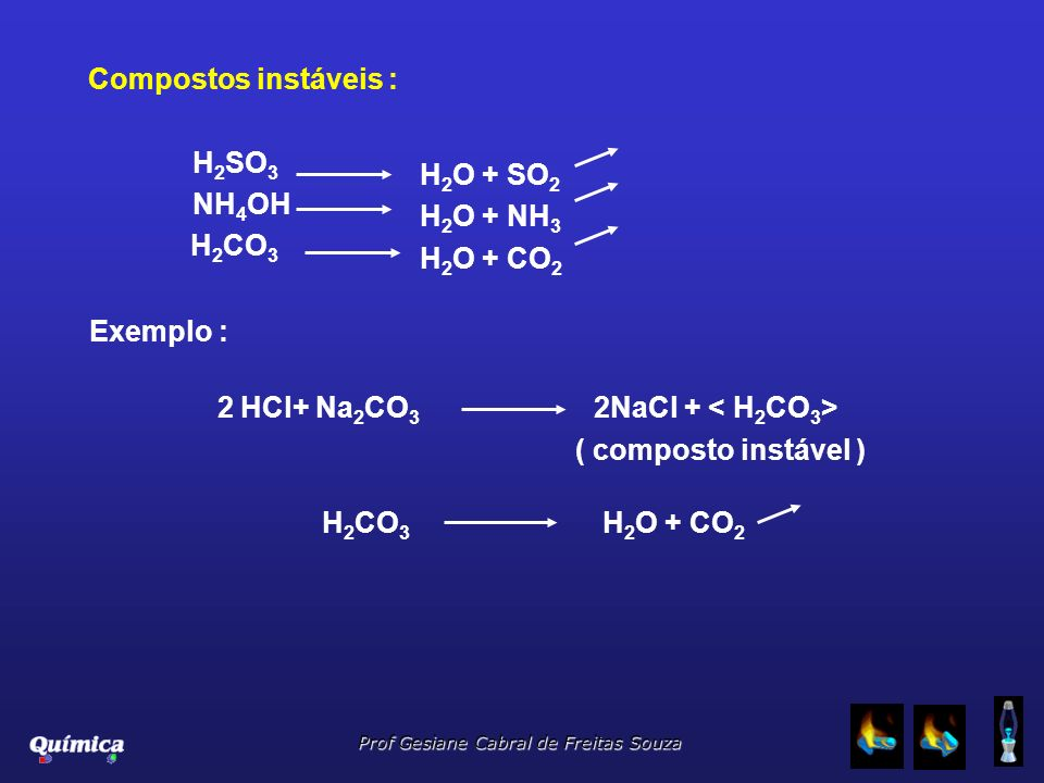 Compostos instáveis : H2SO3. NH4OH. H2CO3. H2O + SO2. H2O + NH3. H2O + CO2. Exemplo : 2 HCl+ Na2CO3 2NaCl + < H2CO3>