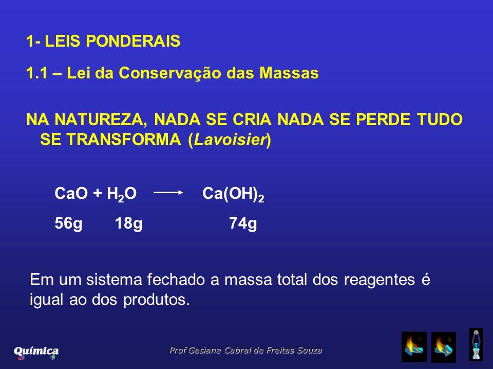 1- LEIS PONDERAIS 1.1 – Lei da Conservação das Massas