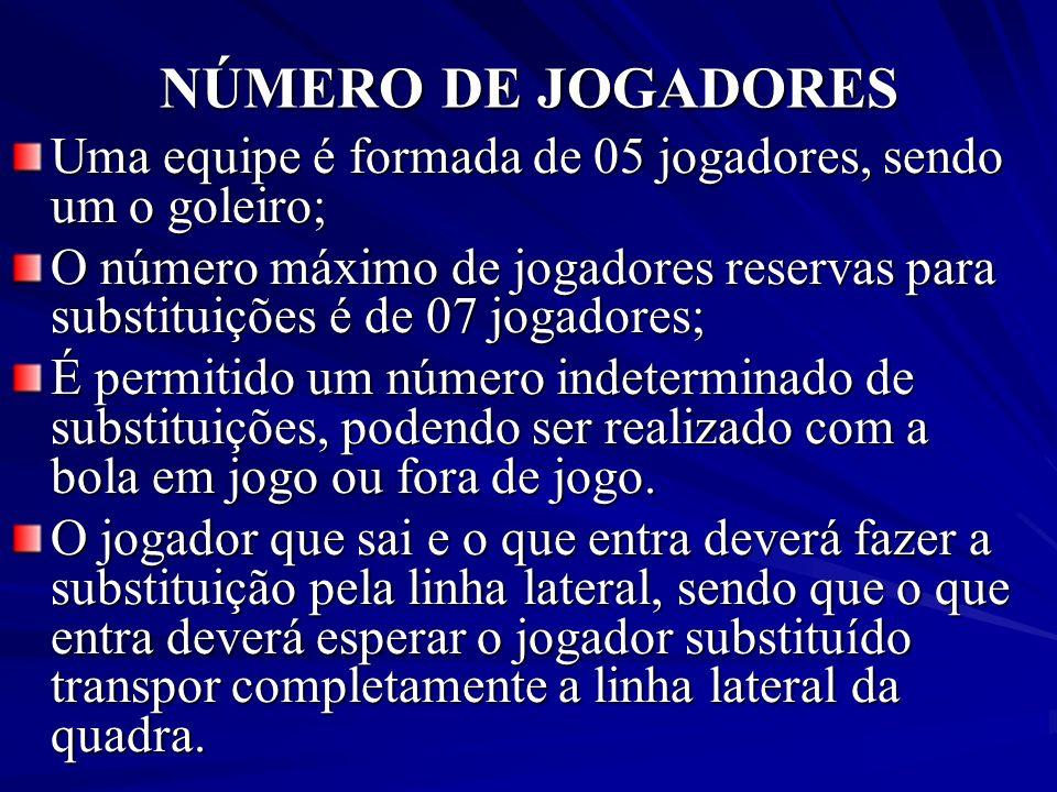 NÚMERO DE JOGADORES Uma equipe é formada de 05 jogadores, sendo um o goleiro;