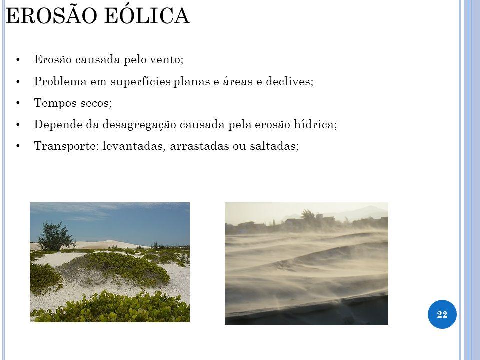 EROSÃO EÓLICA Erosão causada pelo vento;