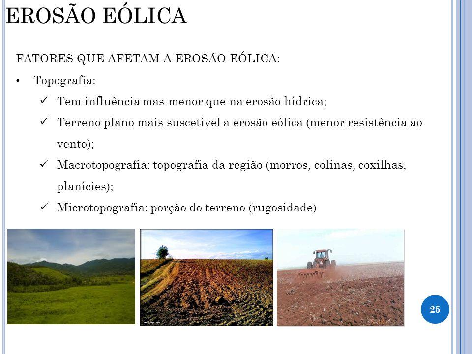 EROSÃO EÓLICA FATORES QUE AFETAM A EROSÃO EÓLICA: Topografia: