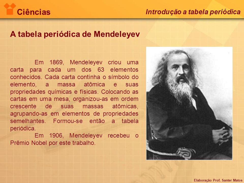 A tabela periódica de Mendeleyev