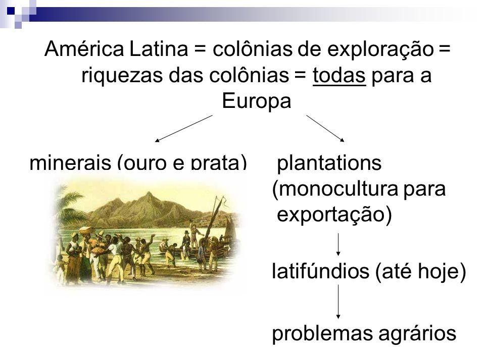 América Latina = colônias de exploração = riquezas das colônias = todas para a Europa