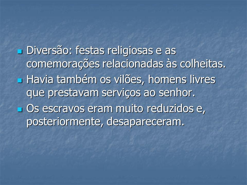 Diversão: festas religiosas e as comemorações relacionadas às colheitas.