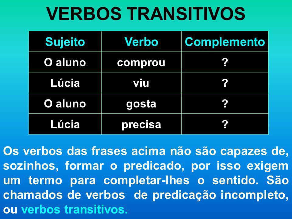 VERBOS TRANSITIVOS Sujeito Verbo Complemento