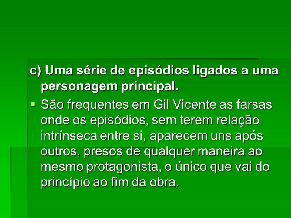 c) Uma série de episódios ligados a uma personagem principal.