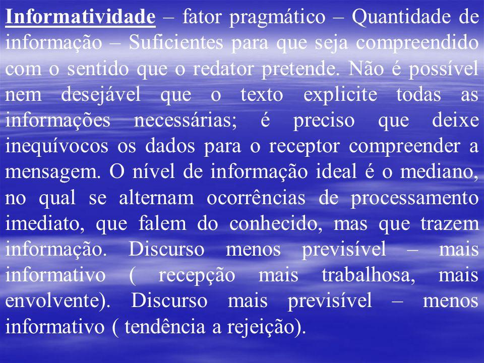 Informatividade – fator pragmático – Quantidade de informação – Suficientes para que seja compreendido com o sentido que o redator pretende.