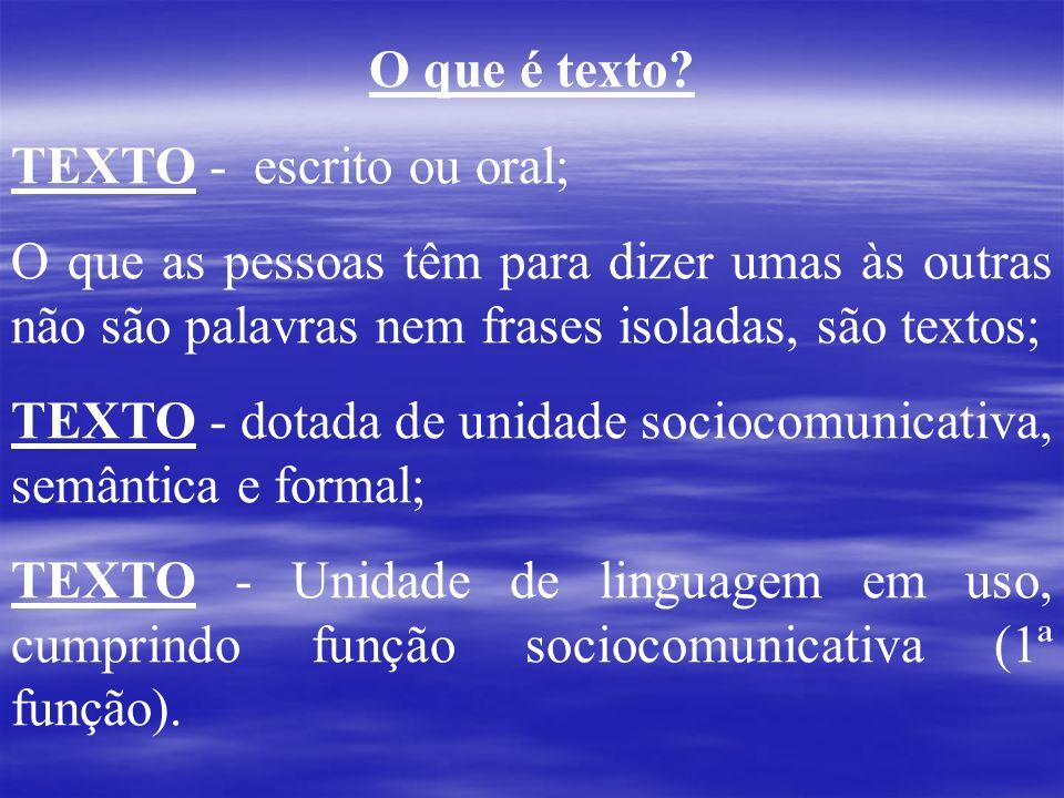 O que é texto TEXTO - escrito ou oral; O que as pessoas têm para dizer umas às outras não são palavras nem frases isoladas, são textos;